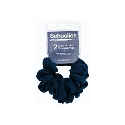 Schoolies Supa-Stretch Scrunchies 2pc Dark Blue [SCH111]