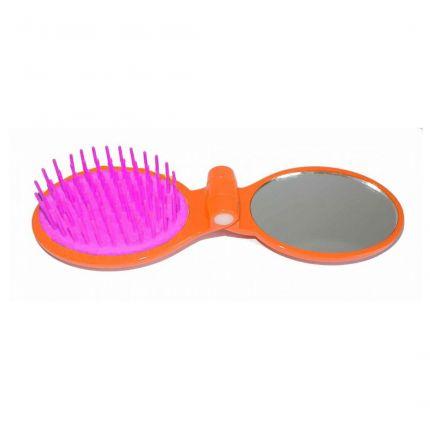 Janeke Foldable Travel Brush with Mirror 86SP03 Orange [JNK32]