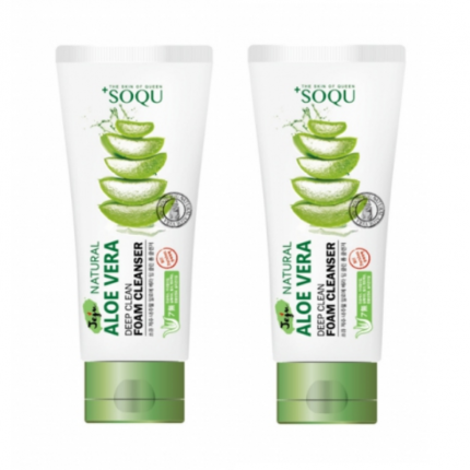 [TWIN PACK] Soqu Jeju Natural Aloe Vera Deep Clean Foam Cleanser 120ml [SOQU103-2]