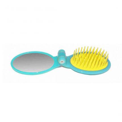 Janeke Foldable Travel Brush with Mirror 86SP03 Turquoise [JNK31]
