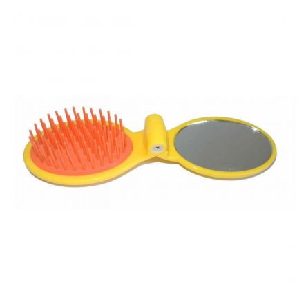 Janeke Foldable Travel Brush with Mirror 86SP03 Yellow [JNK33]