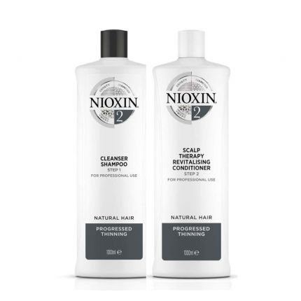 [Combo Set] Nioxin System 2 Cleanser Shampoo 1000ml & Conditioner 1000ml for Noticeably Thinning Natural Hair [NXA206+NXA208]