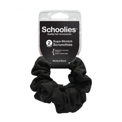 Schoolies Supa-Stretch Scrunchies 2pc Wicked Black [SCH114]