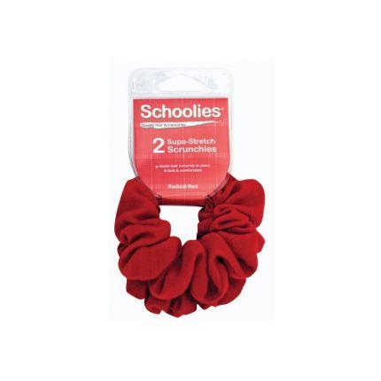Schoolies Supa-Stretch Scrunchies 2pc Radical Red [SCH115]