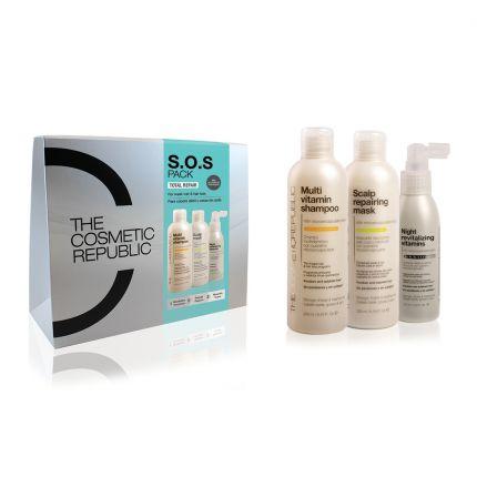 TheCosmeticRepublic SOS Pack TOTAL REPAIR - Shampoo + Mask + Vitamin (Weak Hair & Hair Loss) [TCR160]