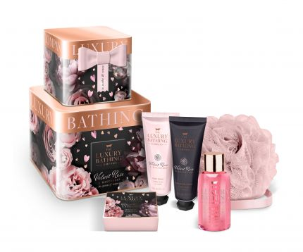GRACE COLE Intrigue - Reusable Stacking Tins with 50ml Body Wash, 80g Bath Caviar, 50ml Hand & Nail Cream, 50ml Body Cream and Body Polisher [GC2014]