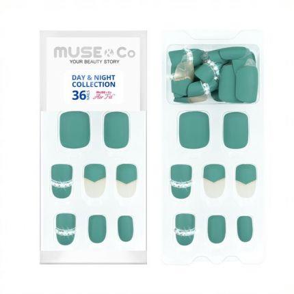 MUSE&Co Stick-On Gel 36 Nails - Emerald Stars [MSCNL0012AF]